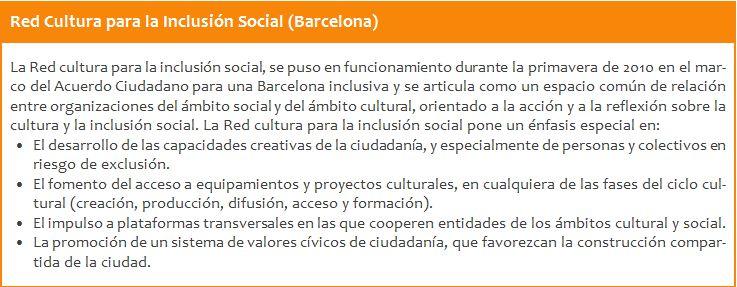 Red Cultura para la inclusión social (Bercelona)
